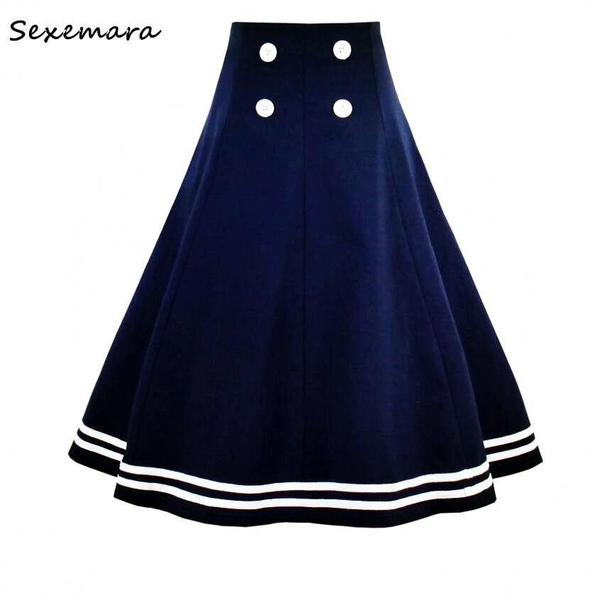 Para estrenar 50b81 c0157 € 18.43  SexeMara nuevo accesorio de otoño doble Breasted 1950 s azul  marino acampanado faldas escolares unidesde el fondo Pin Up talla grande-in  ...