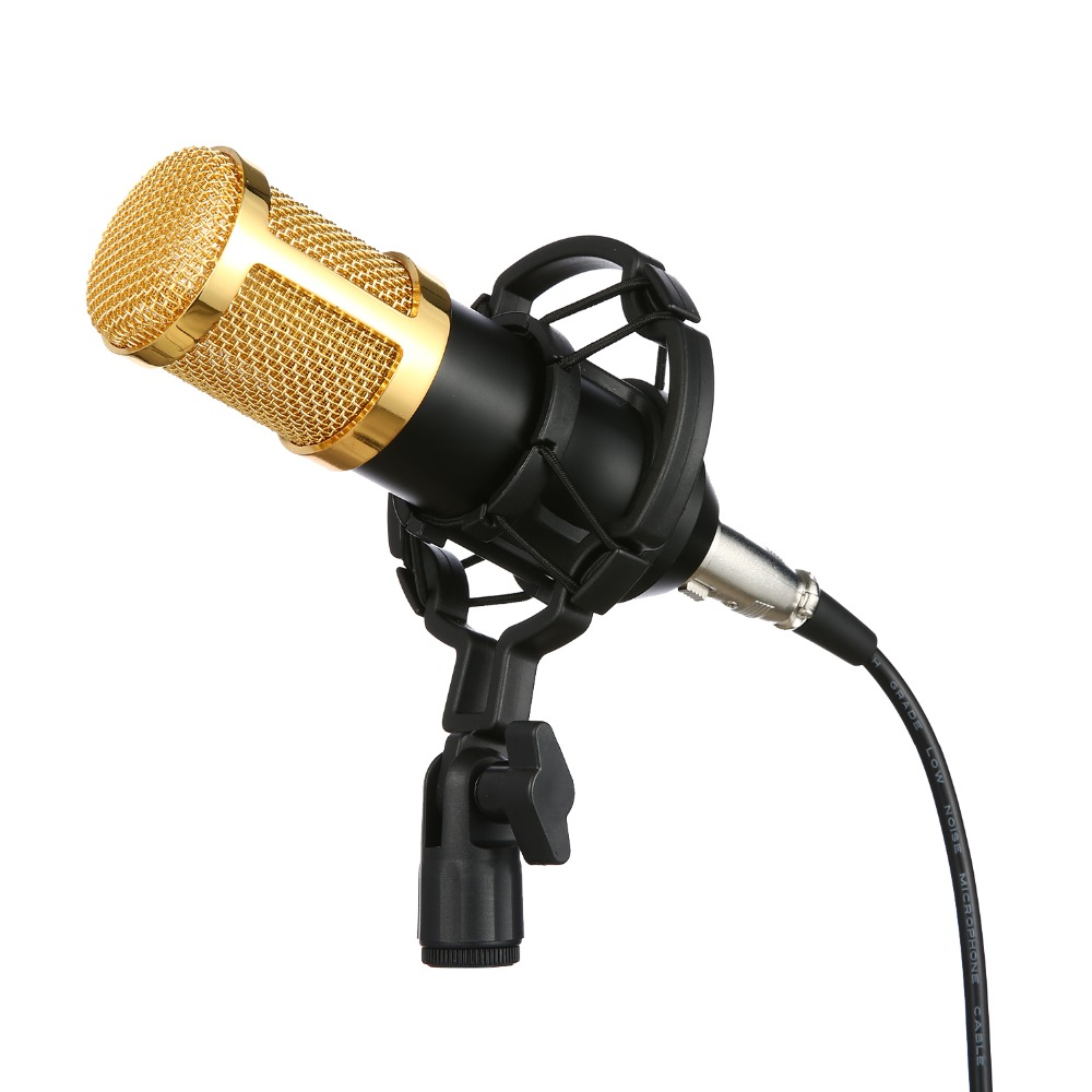 100% New Professional BM 800 bm800 Condenser Sound Recording Microphone with Shock Mount for Radio Braodcasting Singing Black  3 5mm jack audio condenser microphone mic studio sound recording wired microfone with stand for radio braodcasting singing