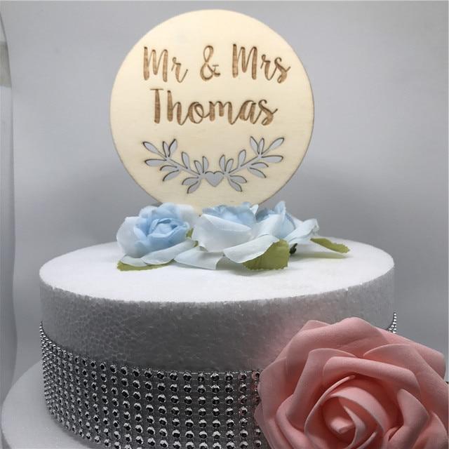 Engraved Botanical Personalized Wedding Cake Topper Custom Name