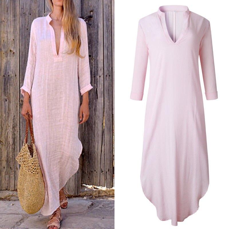 Women Long Dress Spring Autumn Long Sleeve Loose Long Maxi Shirt Dress Linen Plus Size Deep V-neck Lady Dress
