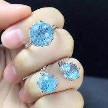 лучшая цена gemstone jewellery factory wholesale new fashion simple design 925 sterling silver natural crystal blue topaz jewelry set women