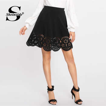 Sheinside Black Elegant Scallop Hollowed Out Skirt Women Spring Casual Mid Waist Flared Skirts Solid Elastic Waist Mini Skirt - DISCOUNT ITEM  45% OFF All Category