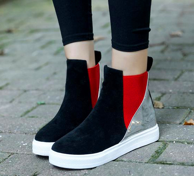 10..New winter boots women 2016 Korean fashion ankle boots round with flat black Womens shoes boots
