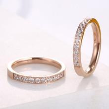 KNOCK высокое качество розовое золото цвета AAA циркония кольца для женщин и мужчин свадебные нержавеющая сталь подарок на день Святого Валентина не выцветает ювелирные изделия