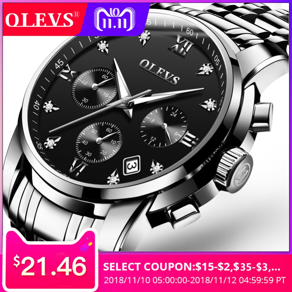 Men's watches top brand luxury OLEVS Chronograph Men Sports Clock Wrist Watch Waterproof Steel Quartz relogio masculino 2017 New цена
