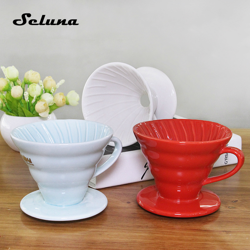 V60 Ceramic Coffee Dripper Hand Drip Coffee Filter Coffee Brewer Pour Over Coffee Maker Drip Cone Filter Permanent 1-2 Cup 4 Cup