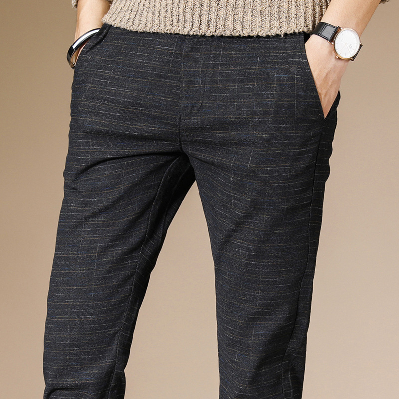2019 Brand Men Pencil Pants Casual Mens Business Trousers Classics Mid Weight Straight Full Length Breathing Pant Linen Cotton