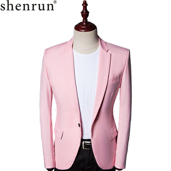 Shenrun Men Suit Jacket Slim Fit Casual Fashion Formal Blazer Jackets Pink Single Button Wedding Costumes Party Prom Stage