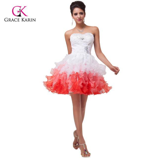 d07d3691805 Fast Shipping White and Red Short Bridesmaid dress under 50