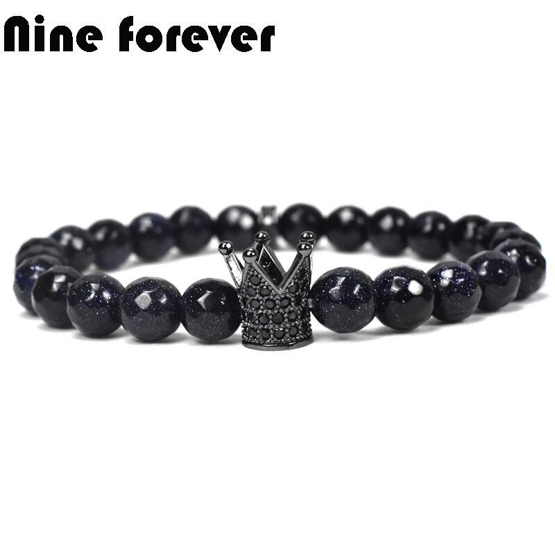 Nine forever natural blue stone bracelet men jewelry king crown charms bracelets for women pulseira masculina feminina bileklik