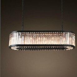 Vintage owalne żyrandole oświetlenie LED nowoczesny kryształowy pryzmat żyrandol nabłyszczania de cristal światła dla domu Hotel dekoracje ślubne
