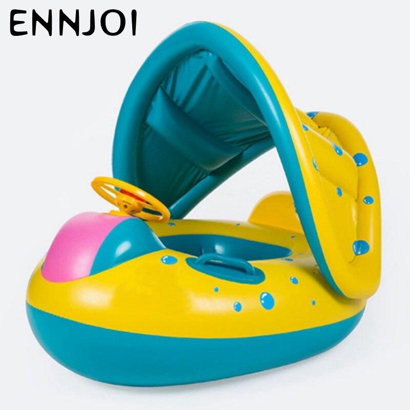 Дети Голубой бассейн лодка сидя кольцо надувается и утолщенной с Зонт Детское плавание кольца