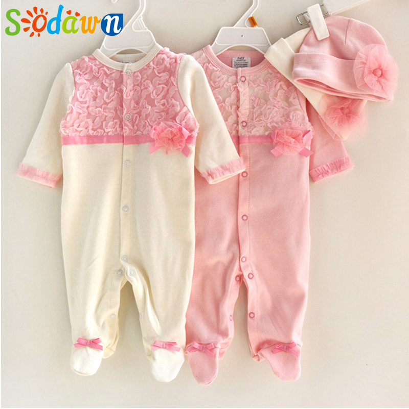 Sodawn Princess Style Newborn Baby Girl Clothes Girls Lace Rompers+Hats Baby Clothing Sets Infant Jumpsuit Gifts 2015 newborn princess style baby girl clothes kids birthday dress girls lace rompers hats baby clothing sets infant jumpsuit