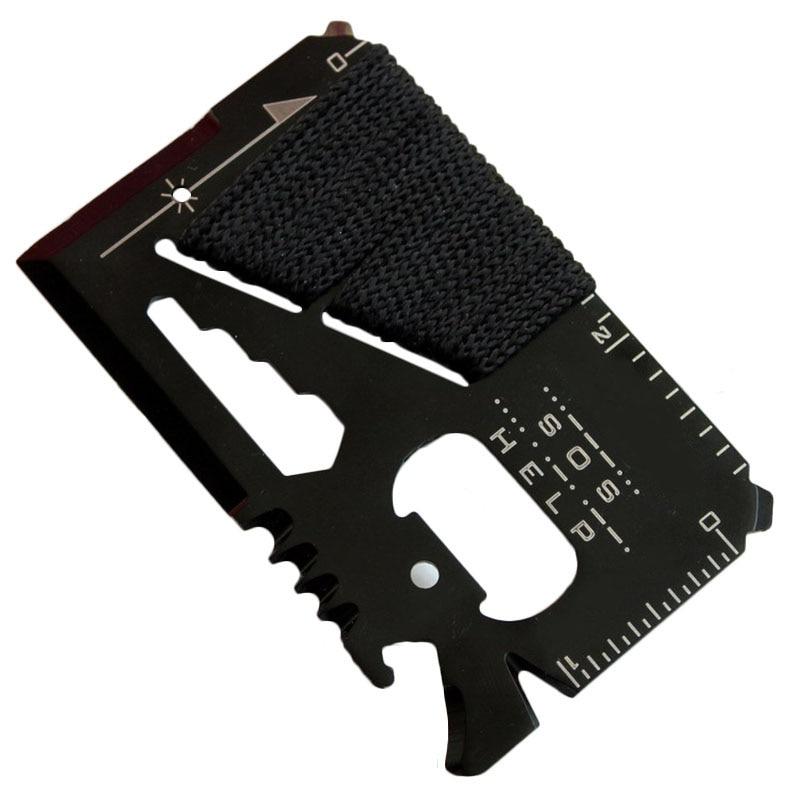 EDC — Couteau de chasse de poche multifonctionnel, carte de crédit, outils d'urgence de sauvetage et de survie en cas de sos lors des sports en plein air, ou de randonnées