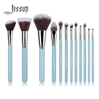 Pro MakeUp Cosmetic Set Eyeshadow Foundation Wood Brush Blusher Tools Blue Silver 12pcs Set