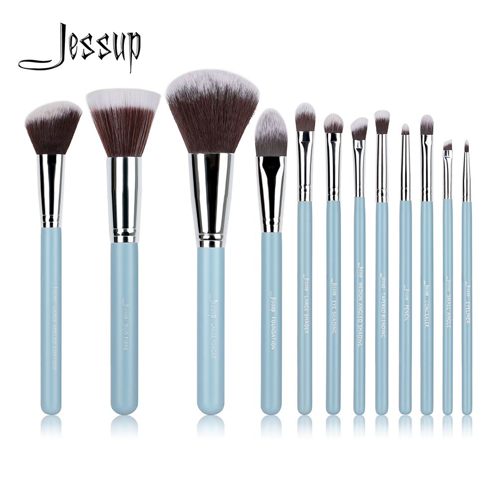 Jessup Brand 12pcs Blue/Silver Professional Makeup Brushes set Beauty Make up Tools Cosmetics kit Eyeshadow Foundation blusher 147 pcs portable professional watch repair tool kit set solid hammer spring bar remover watchmaker tools watch adjustment
