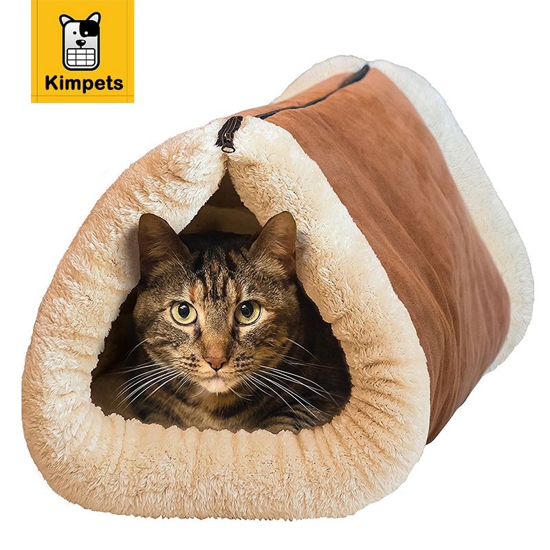 KIMHOME PET 2 in 1 Tube Cat Mat & Bed Foldable Cat Mats Dog Kennel Puppy Pet Cat Sleep Bed Winter Warm House Soft Pet Cushion