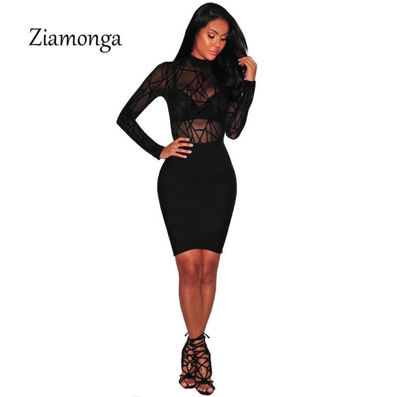 Ziamonga прозрачной черной сетки боди Для женщин Топы корректирующие Летний комбинезон Ползунки Фитнес выдалбливают партии клуба Корректирующие боди для женщин с длинным рукавом