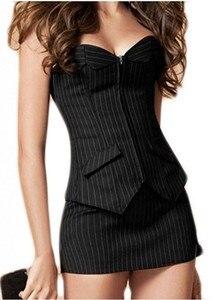 Image 4 - Sapubonva 섹시한 블랙 스트라이프 overbust 코르셋 사무실 레이디 corselet 섹시한 여성 우편 코르셋 bustier strapless 탑스 의상 패션
