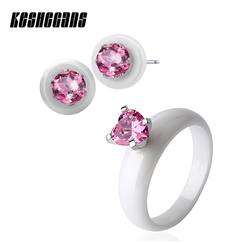 New Elegant Pink Crystal Jewelry Set Rhinestone Stud Earrings Heart Shape Ceramic Ring Black White or Women Fashion Jewelry Gift 2017 new fashion black natural stone women earrings with bling rhinestone elegant white ceramic stud earrings u shape for women