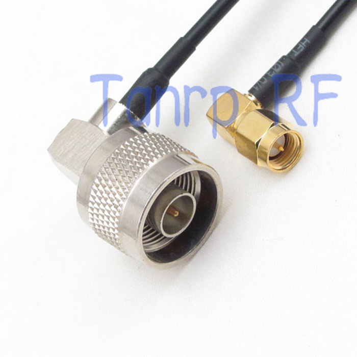 цена на 10pcs 8in SMA male to N male plug both 2 right angle RF adapter connector 20CM Pigtail coaxial jumper cable RG174 extension cord