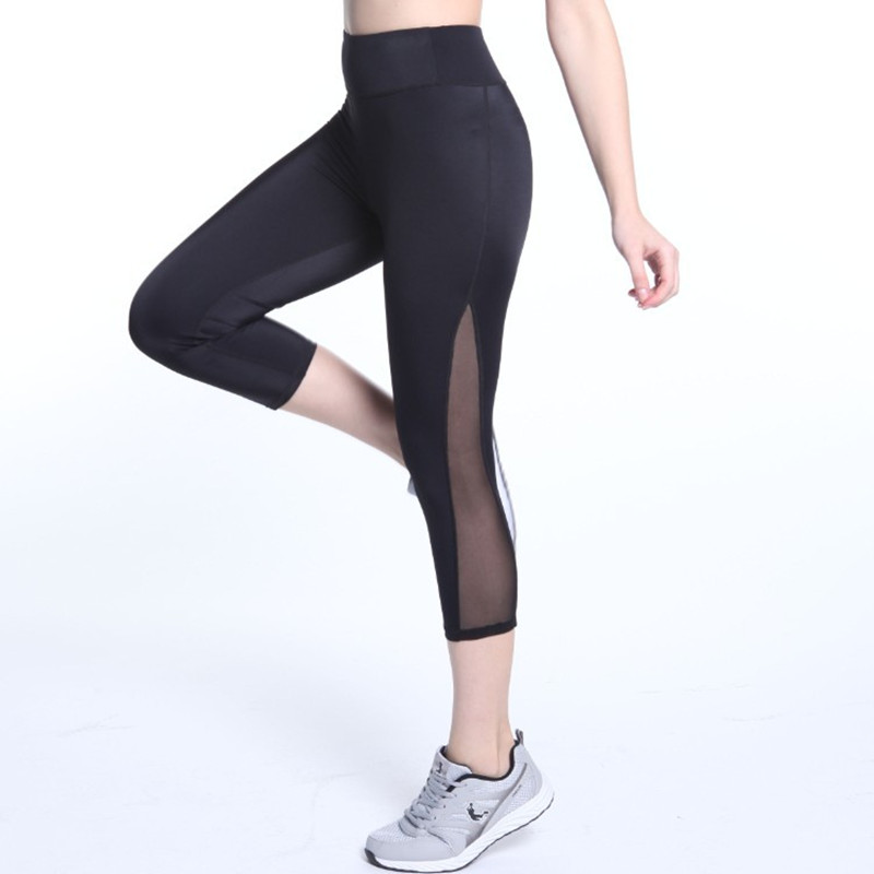 New High Quality Mesh High Waist Workout Leggings Fitness Women Mid-Calf 3/4 Pants Breathable Push Up Capri Leggins