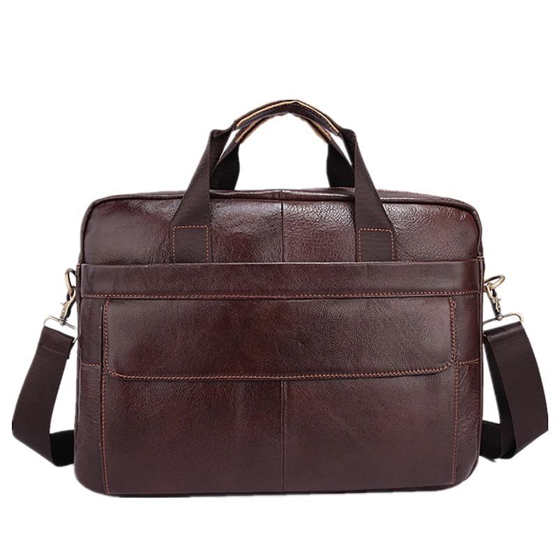 Famous Brand Genuine Cowhide Leather Business Men Briefcase Laptop Bags Men's Travel Bag Portfolio Men Shoulder Bag Man Handbag