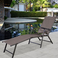 Giantex Pool Chaise Lounge Chair Recliner Outdoor Patio Garden Furniture Adjustable Portable Folding Beach Chairs HW49889