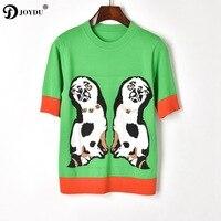 JOYDU Runway Brand Shirt Female Sweet Double Dogs Cartoon Pattern Flower Beading Summer Top Chic Women