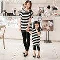 Летний стиль семьи соответствующие рубашки мать дочь хлопок полосатые рубашки мода росы плеча с коротким рукавами футболки Большой размер