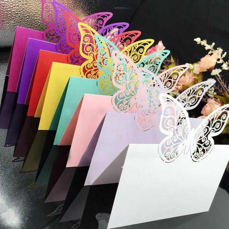 Wholesale 100pcs Paper Cut Butterfly Laser Cut Place Cards