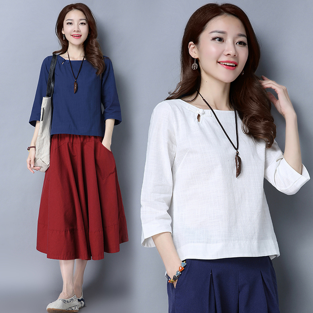 Loose Cotton And Linen Shirts New 2017 Solid Color Vintage Chinese Style Button Base Shirt Women