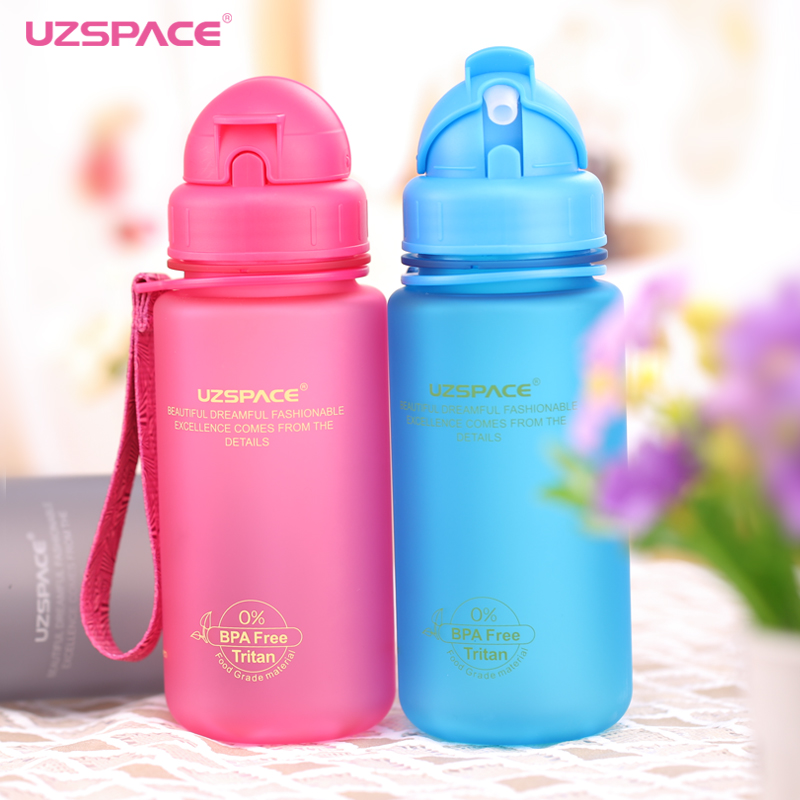 Uzspace Tritan Children Scrub Portable leakproof straw type My plastic water bottles 400Ml Eco-friendly Students (BPA free)