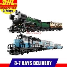 LEPIN 21005 Esmeralda Noite Trem Especialista + LEPIN 21006 Trem Maersk Modelo Blocos de Construção Tijolos Definir Clone 10219 10194