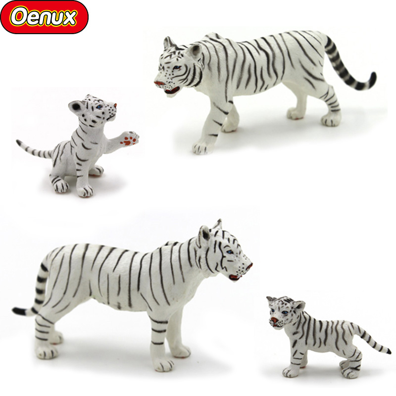 Oenux African Wild White Tigers Action Figure Toy Simulation Tiger Family Lifelike Model