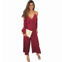 4c54460a1e8 Fashion Party Club Sexy Women Jumpsuits Elegant Off-shoulder V-neck Evening  Rompers Wide Leg Pants Overalls Black White Red Wine