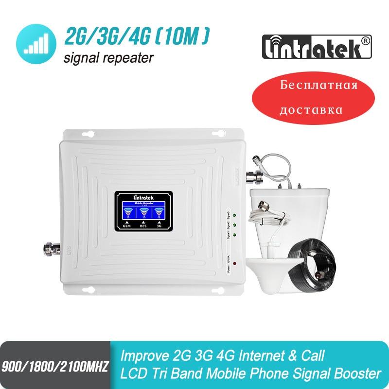 2G 3G 4G amplificateur de Signal GSM 900 1800 2100 répéteur WCDMA Tri bande Lintratek kw20c gdw cellulaire 65dB LTE amplificateur de téléphone portable #50