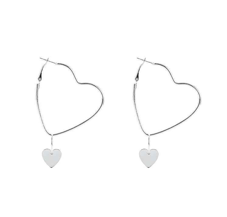 Kolczyki dla kobiet złoto srebro modny wisiorek dziewczyny Trend prezent wiszący Dangler kolczyk zapięcie kobiece serce proste