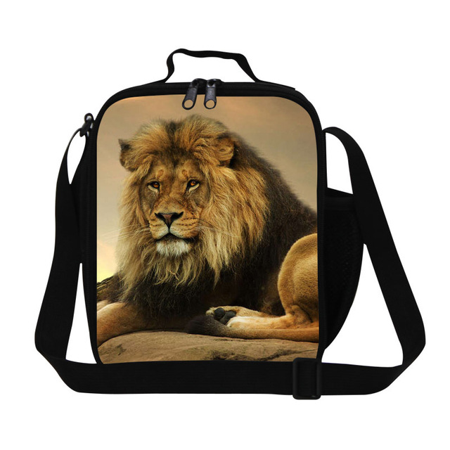 Personalized lion lunch bags for boys,insulated lunch bag for adults work,shoulder lunch container with strap,thermal food bags