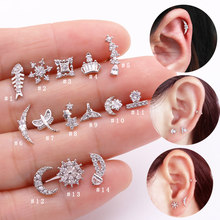 Sellsets 1 ชิ้น 20g Barbell Moon Star Shape Sparkling CZ หู Tragus Helix Cartilage Stud Rook (China)