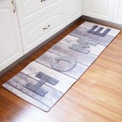 Nueva cocina alfombra vestíbulo absorbente estera de baño europeo y americano impresión larga baño Anti-slip Mat