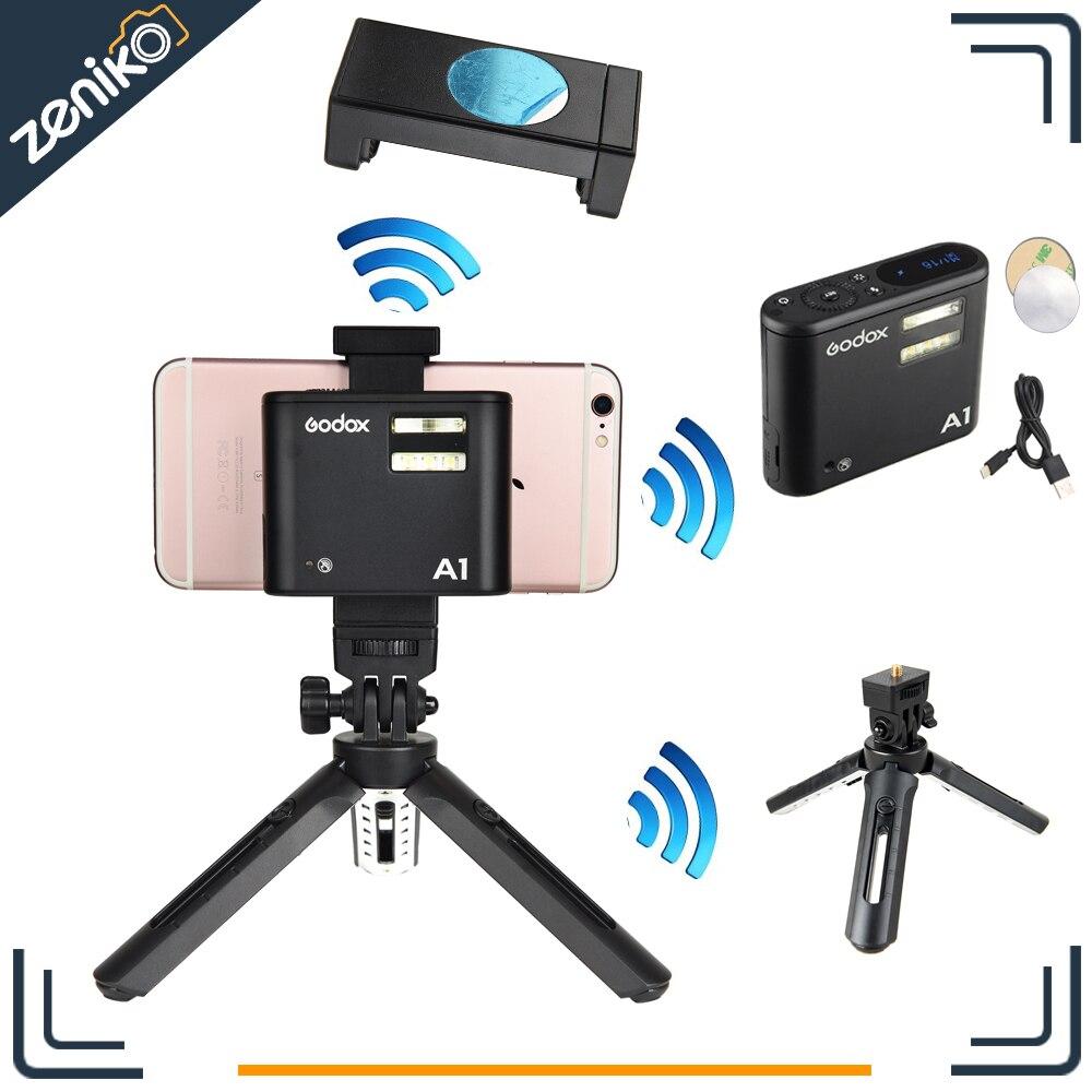 Presale Godox A1 Smartphone Flash + MT01 Mini Tripod + MTH Phone Clam TTL Bluetooth with Battery for iPhone 7 6S Plus ios