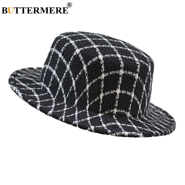 48360ee09dd397 BUTTERMERE Women Fedora Hats Plaid Woolen Winter Btitish Style Casual Felt  Hat Ladies Spring Checkered Classic