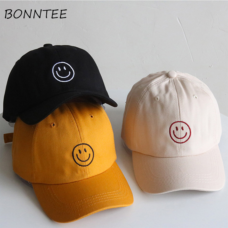 Women   Caps   All-match Adjustable Casual Smile Embroidery Sun Shading   Baseball     Caps   Womens Daily Chic Korean Style Hip-hop Kawaii