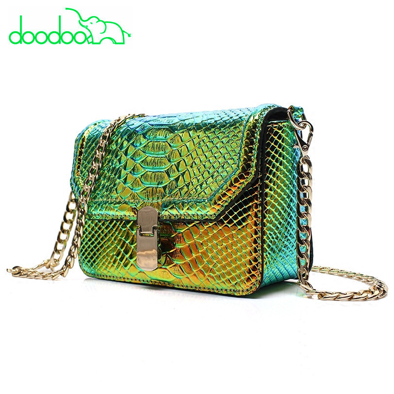 Fashion Chain Women Shoulder Messenger Bag Snake Skin Serpentine Crossbody Bags Women Leather Handbag High Quality Green Flap