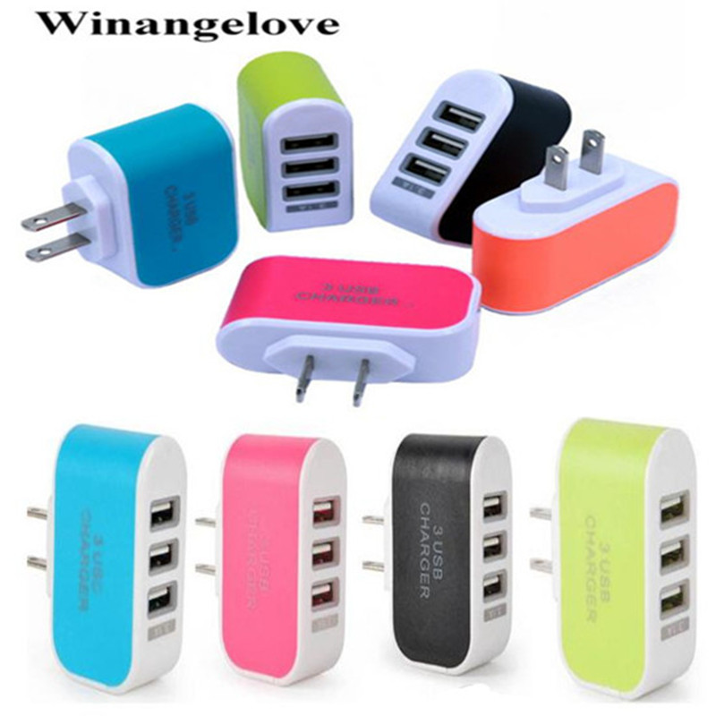 Winangelove 3 usb ports 3A US USA AC home wall charger adapter power plug for iphone
