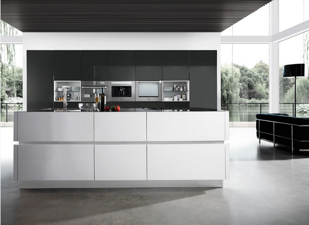 2017 new design customized kitchen cabinets hot sales modern high gloss white lacquer kitchen furniture l1606018 - New Design Kitchen Cabinet