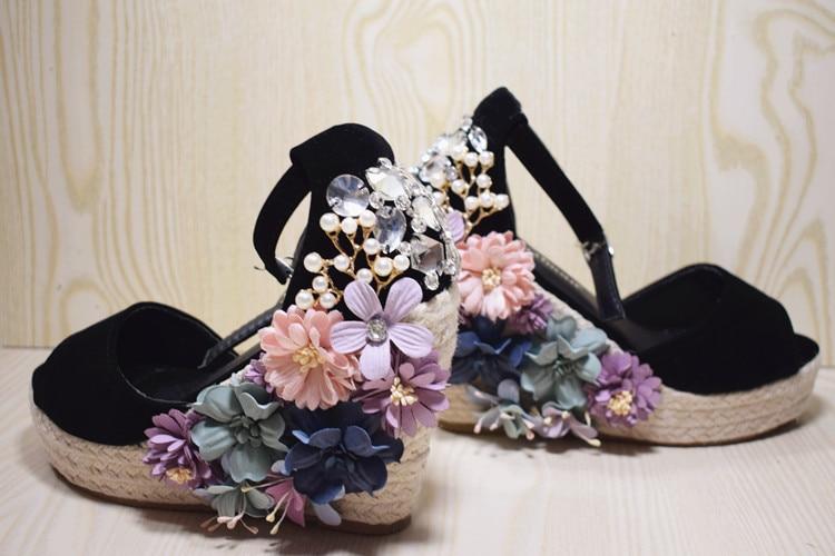 Alta Antideslizante Flores Hecho 42 Con Beige Bohemia Zapatos A Cuña Tamaño Hebilla Tacón Sandalias Tacones Mujer Mano De Verano 32 OOqw6rE1