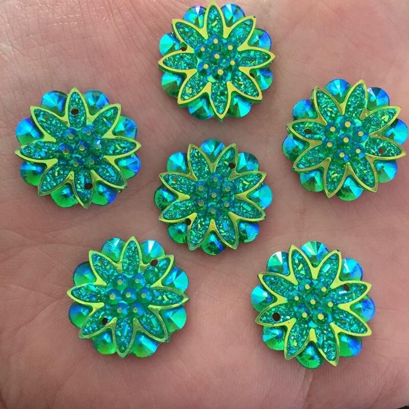 AB смолы цветок 100 шт. 18 мм горный хрусталь Flatback Свадебные украшения 2 отверстия Кнопки diy craft D603 * 10