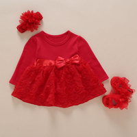 2017 New Borns Baby Girl Princes Rose Dress With Sleeves For Girls 1st Birthday Outfits Spring